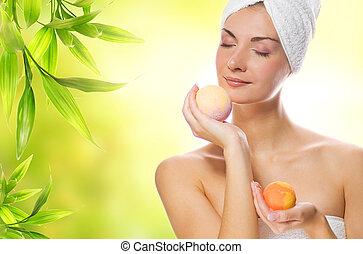 mooi, zeep, vrouw, jonge, aroma