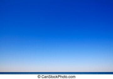 mooi, zeezicht, blauwe hemel