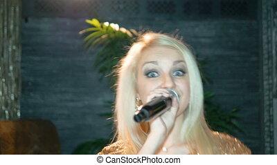 mooi, zingt, song., vrouw, jonge, blonde