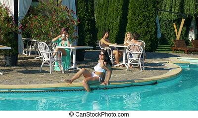 mooi, zomer, groep, mensen, uitgeven, jonge, tijd, dag, pool