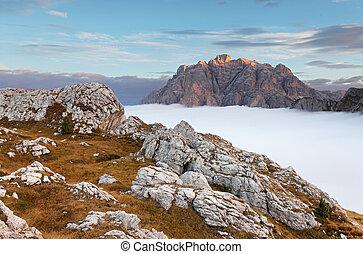 mooi, zomer, italië, dolomieten, -, landscape, bergen., zonopkomst