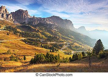 mooi, zomer, italië, dolomieten, -, landscape, zonopkomst, bergen., alp