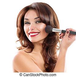 mooie vrouw, aan het dienen, jonge, makeup., brunette, meisje