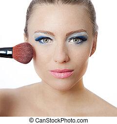 mooie vrouw, aan het dienen, jonge, makeup