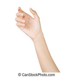mooie vrouw, achtergrond, vrijstaand, hand houdend, witte