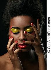 mooie vrouw, black , glanzend, makeup