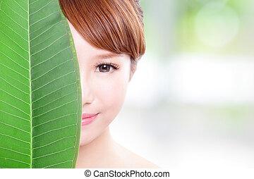 mooie vrouw, blad, gezicht, groene, verticaal