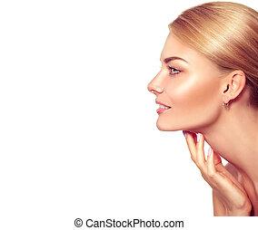 mooie vrouw, haar, beauty, gezicht, aandoenlijk, portrait., spa, blonde