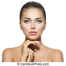 mooie vrouw, haar, beauty, gezicht, aandoenlijk, portrait., spa