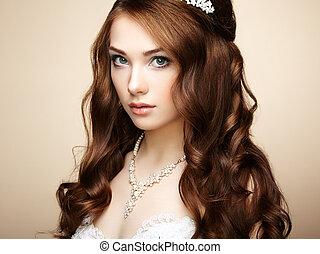 mooie vrouw, hairstyle., foto, elegant, dress., huwelijk portret, mode, sensueel