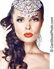 mooie vrouw, juwelen, diadeem, -, glamour., glanzend