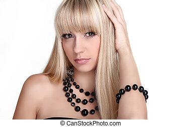 mooie vrouw, juwelen, vrijstaand, lang, stilerend haar, achtergrond., mode, blonde , witte
