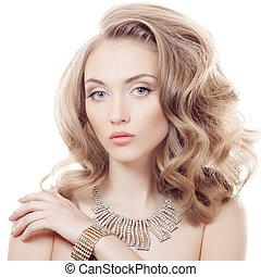 mooie vrouw, juwelen, vrijstaand, mode, luxe, verticaal