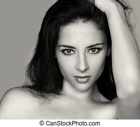 mooie vrouw, kunst, face., haarmanier, closeup, vasthouden, sexy, verticaal, meisje, mode