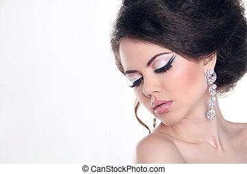 mooie vrouw, kunst, juwelen, beauty., helder, mode, make-up., foto