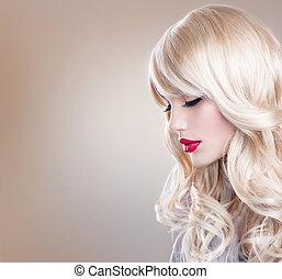 mooie vrouw, langharige, golvend, portrait., blonde , blonde, meisje