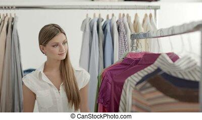 mooie vrouw, mode, jonge, winkel