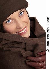mooie vrouw, mode, winter