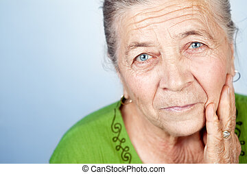 mooie vrouw, oud, gezicht, inhoud, senior