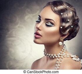 mooie vrouw, pearls., makeup, jonge, retro, gestyleerd, verticaal