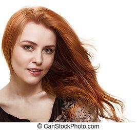 mooie vrouw, prachtig, haar, verticaal, witte