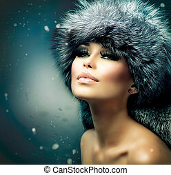 mooie vrouw, vacht, winter, portrait., meisje, hoedje, kerstmis