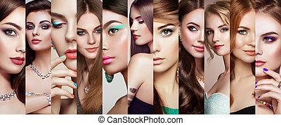 mooie vrouwen, gezichten, collage