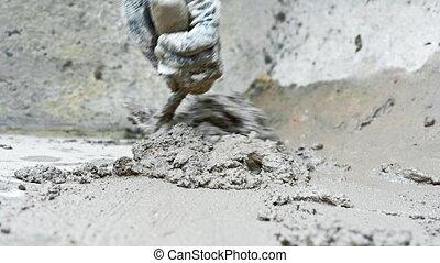 mortar., malen, vermalen, man, trowel, gebruik, hand