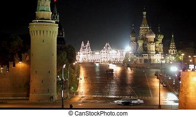 moskou, kremlin, landscape, nacht