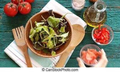 motie, gemengd, fris, het vallen, groentes, vertragen, salade kom