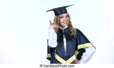 motie, graduate., vertragen, white., flirten
