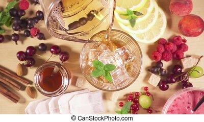 motie, koude, glas, ijs, vertragen, thee, stort