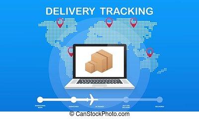 motie, tracking., pakket, website., verpakken, online, tracking, grafiek