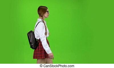 motie, vertragen, haar, schooltas, screen., back., groene, schoolgirl, bovenkant, komt, aanzicht