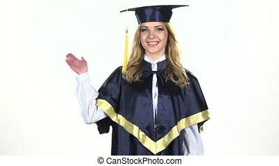motie, waving., vertragen, white., afstuderen