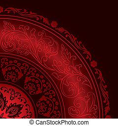 motieven, decoratief, ouderwetse , rood, frame, ronde