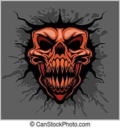 motocross, agressief, schedel, helm