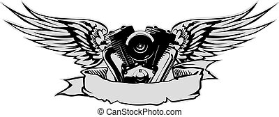 motor, grijs, vleugels, basis