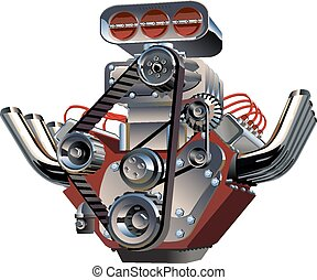 motor, turbo, vector, spotprent