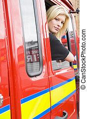 motor, zittende , vuur, brandweerman, vrouwlijk, taxi