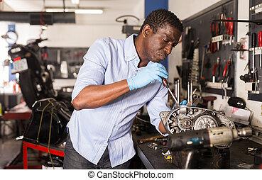 motorfiets, arbeider, amerikaan, garage, motor, herstelling, afro