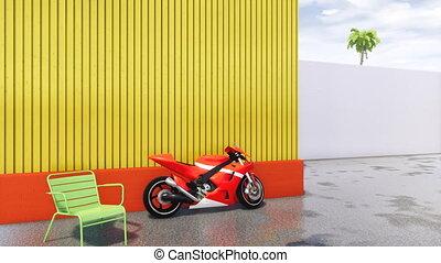 motorfiets, mensen, moderne, sporten, nee, cityscape
