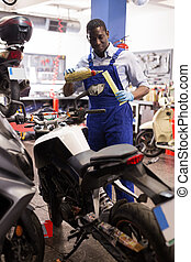 motorfiets, overalls, ingenieur, stort, olie, garage, motor
