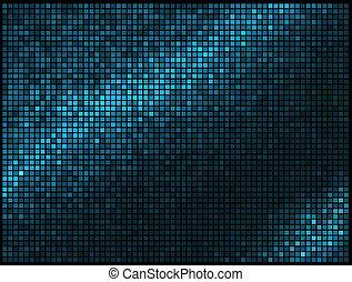 mozaïek, pixel, plein, blauwe , abstract, lichten, disco, veelkleurig, vector, achtergrond.