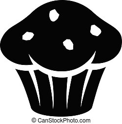 muffin, vrijstaand, illustratie, vector, zwarte achtergrond, witte , pictogram