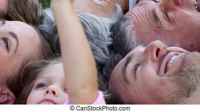 multi, het glimlachen, generatie, gezin
