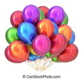 multicolored., versiering, verjaardagsfeest, ballons, balloon, bos