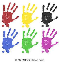 multicoloured, afdrukken, hand