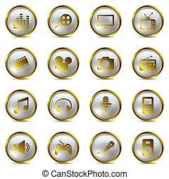 multimedia, set, goud, iconen
