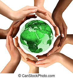 multiracial, aardebol, ongeveer, handen